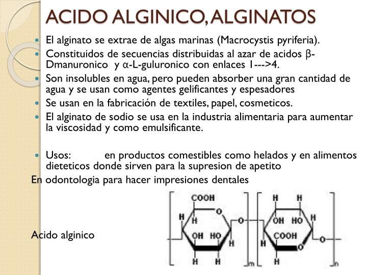 ACIDO ALGINICO, ALGINATOS