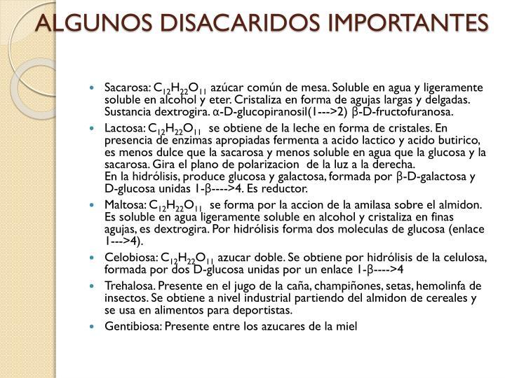 ALGUNOS DISACARIDOS IMPORTANTES