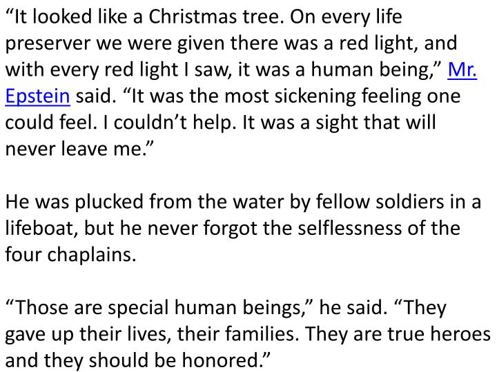 """It looked like a Christmas tree. On every life preserver we were given there was a red light, and with every red light I saw, it was a human being,"""