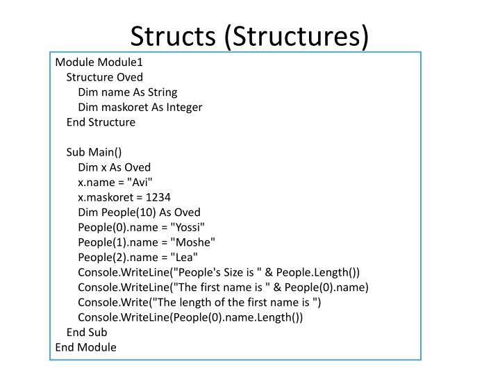 Structs (Structures)