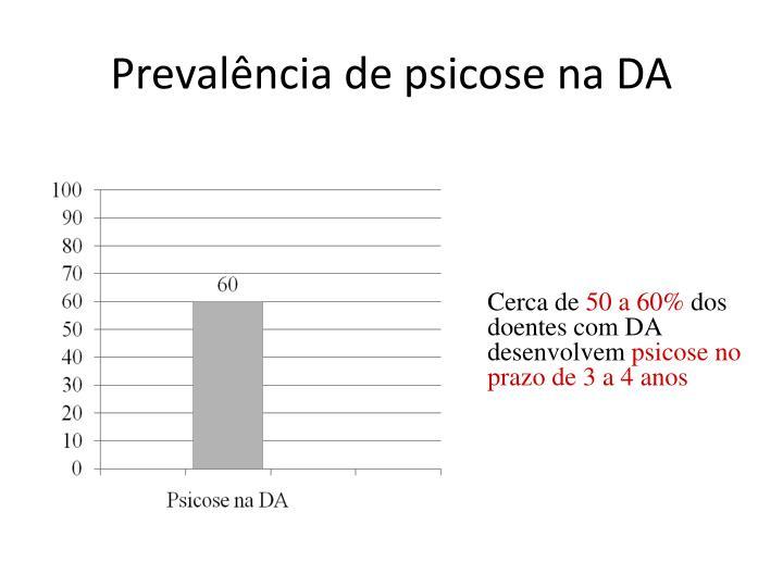 Prevalência de psicose na DA