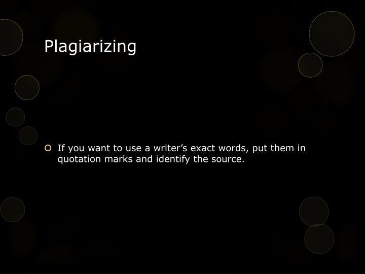 Plagiarizing