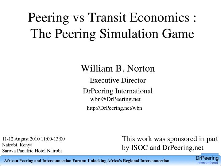 Peering vs transit economics the peering simulation game