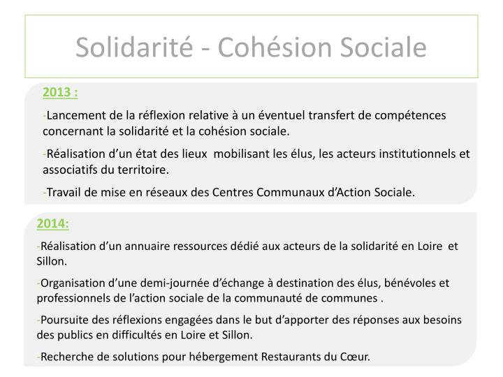 Solidarité - Cohésion Sociale