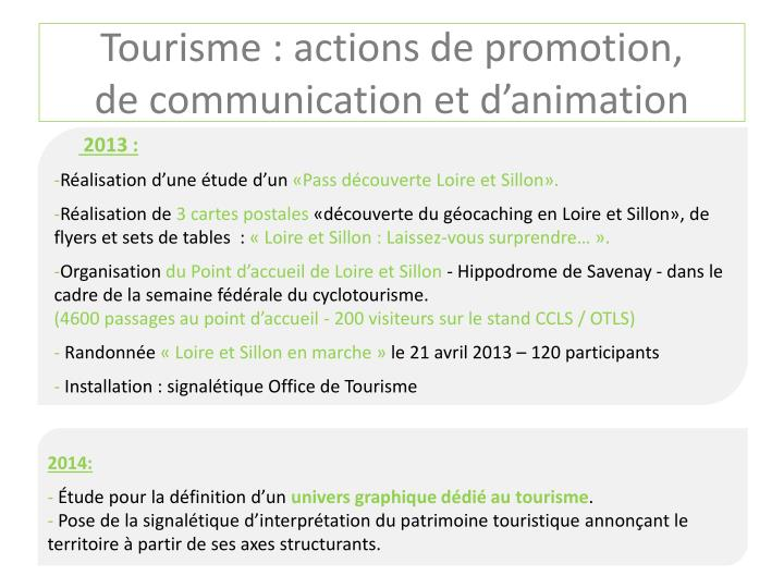 Tourisme : actions de promotion,