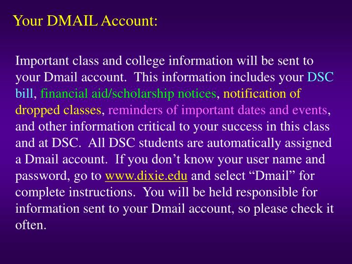 Your DMAIL Account:
