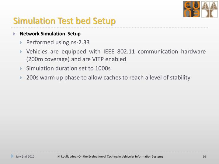 Simulation Test bed Setup