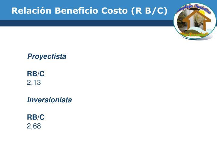 Relación Beneficio Costo (R B/C)
