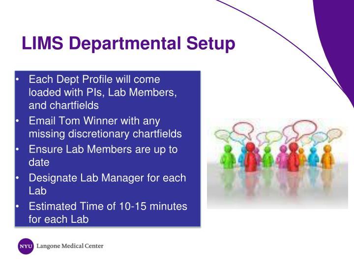 LIMS Departmental Setup