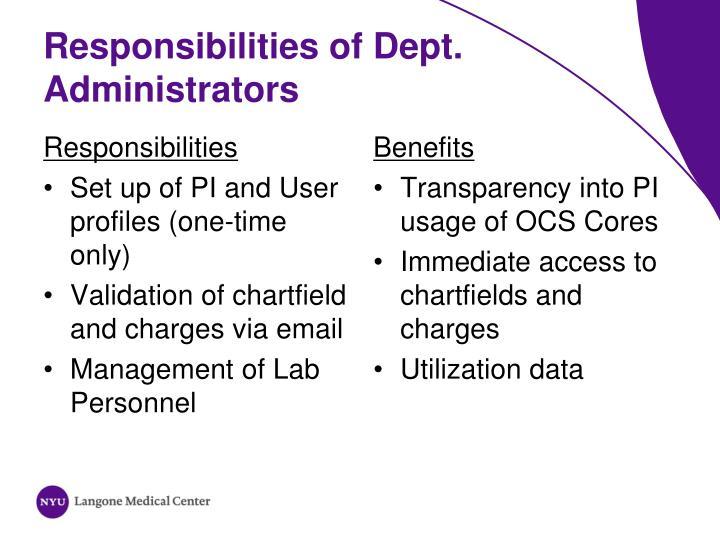 Responsibilities of Dept.