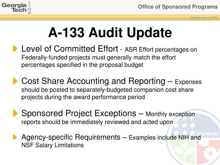 A-133 Audit Update