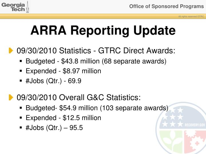 Arra reporting update
