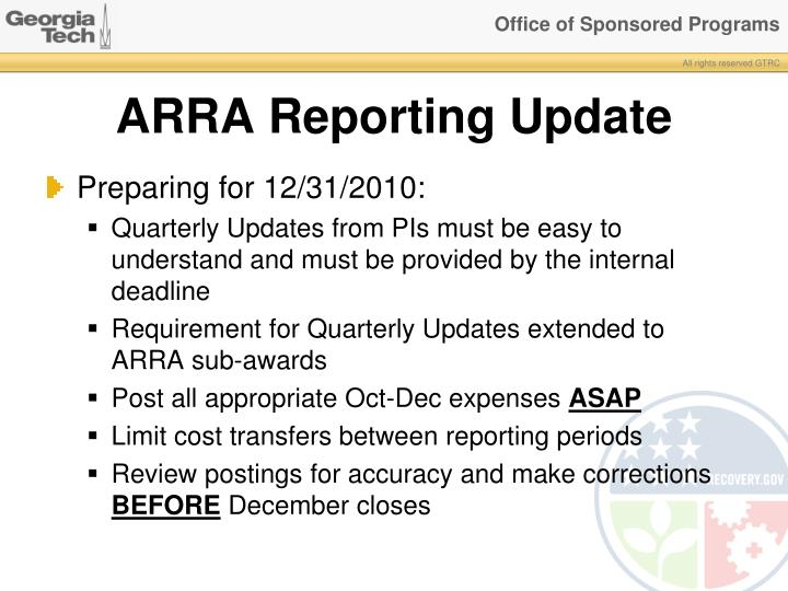Arra reporting update1