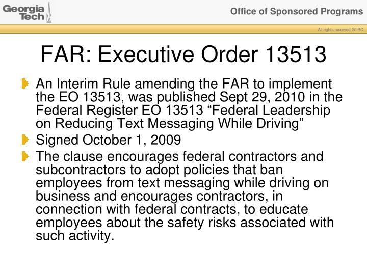 FAR: Executive Order 13513