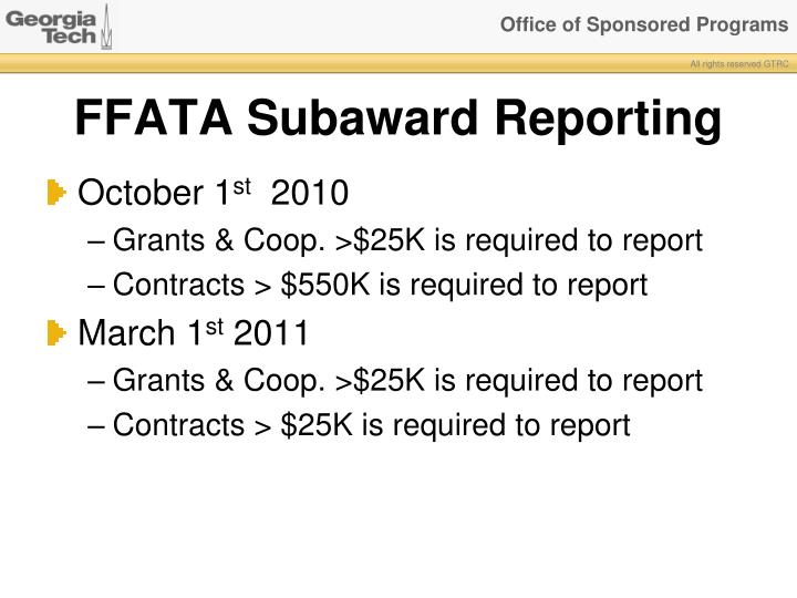 FFATA Subaward Reporting