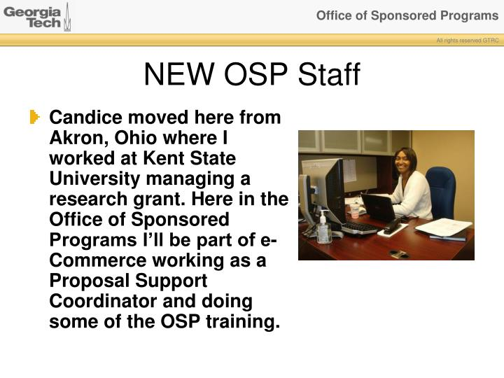 NEW OSP Staff