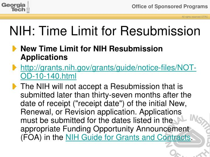 NIH: Time Limit for Resubmission