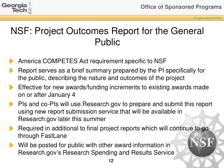 NSF: Project Outcomes Report for the General Public