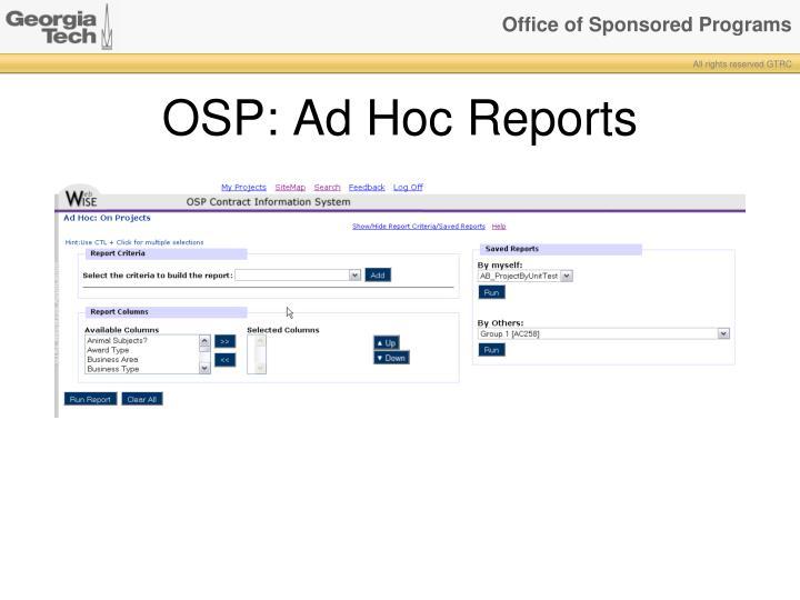 OSP: Ad Hoc Reports