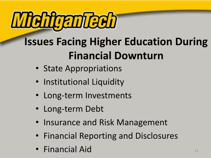 Issues Facing Higher Education During Financial Downturn