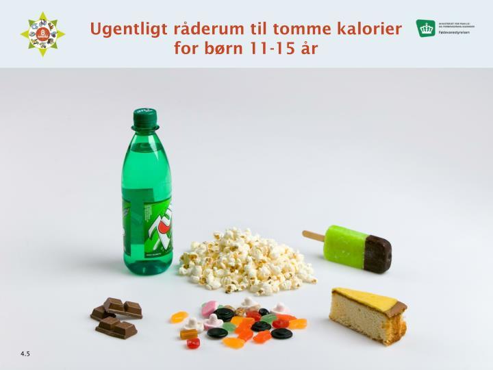 Ugentligt råderum til tomme kalorier for børn 11-15 år