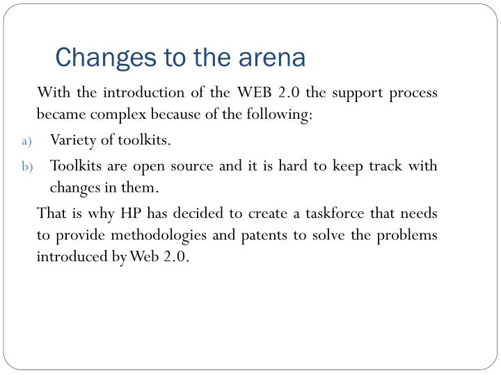 Changes to the arena