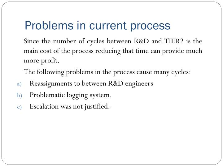 Problems in current process