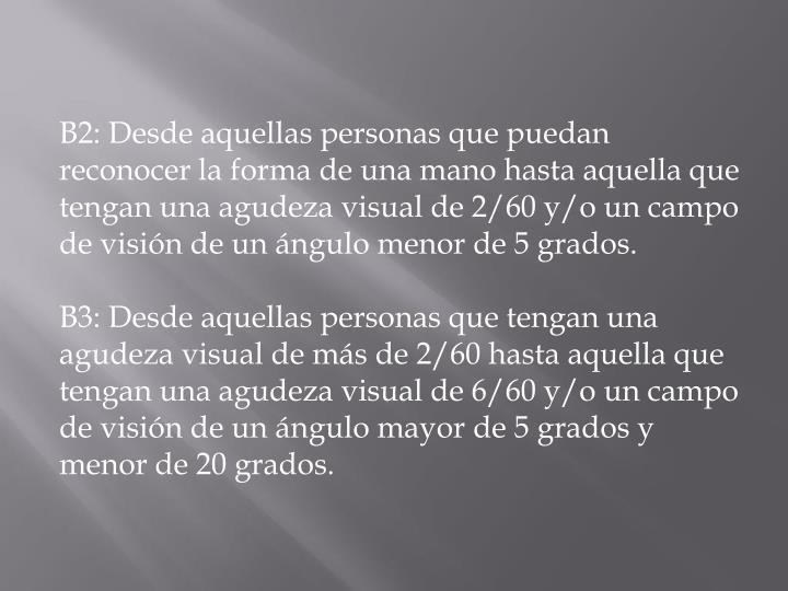 B2: Desde aquellas personas que puedan reconocer la forma de una mano hasta aquella que tengan una agudeza visual de 2/60 y/o un campo de visión de un ángulo menor de 5 grados.