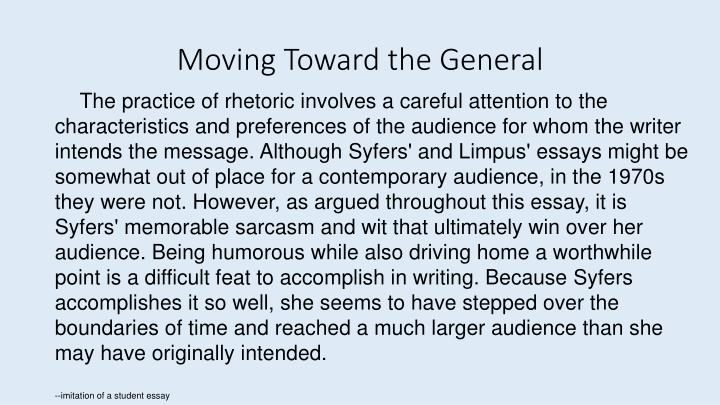 Moving Toward the General