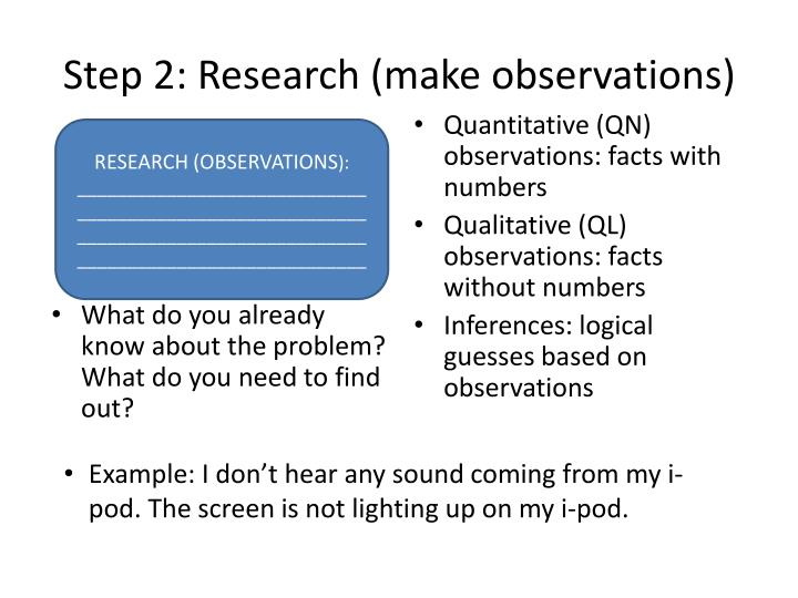 Step 2: Research (make observations)