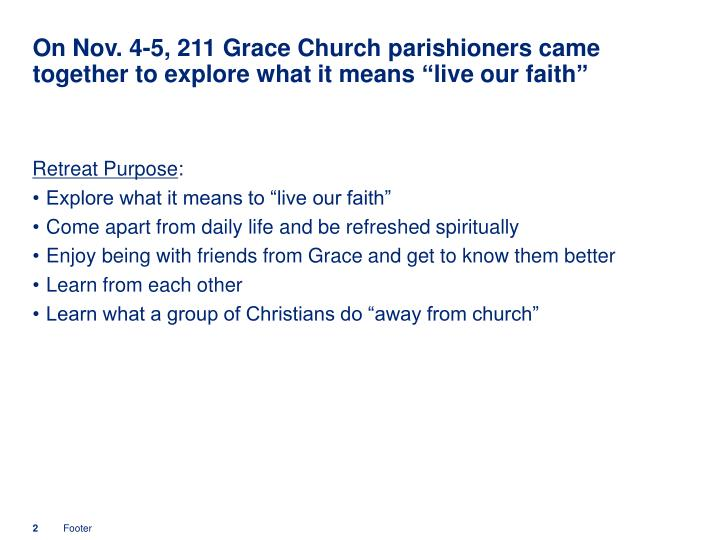 On Nov. 4-5, 211 Grace Church parishioners came together to explore what it means live our faith