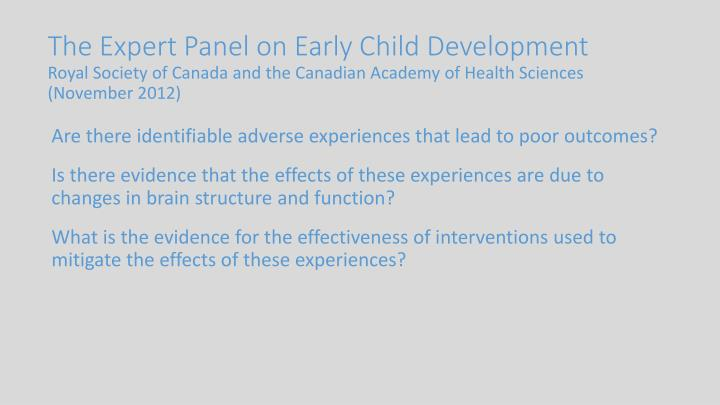 The Expert Panel on Early Child Development