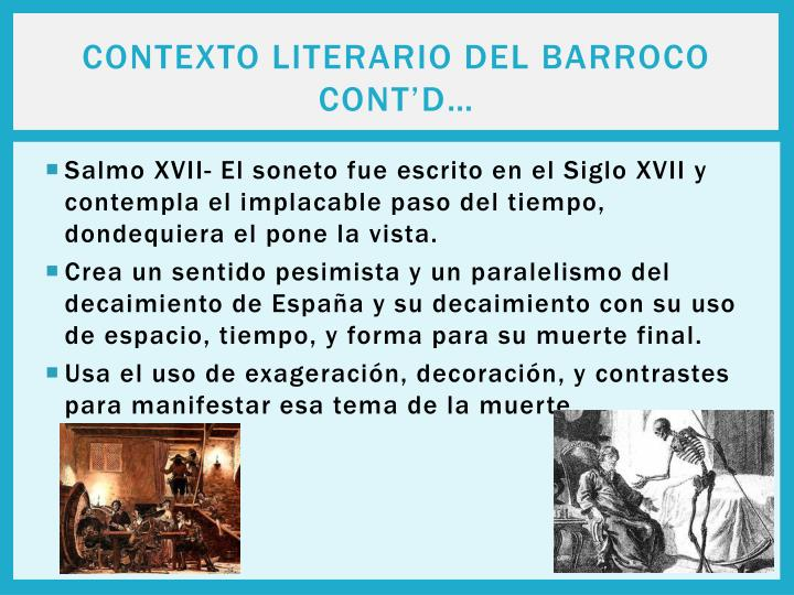 Contexto Literario del Barroco cont'd…