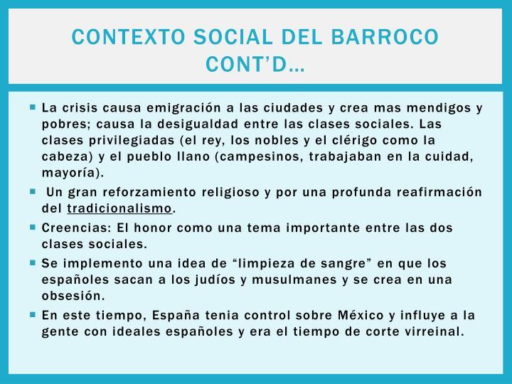 Contexto Social Del Barroco