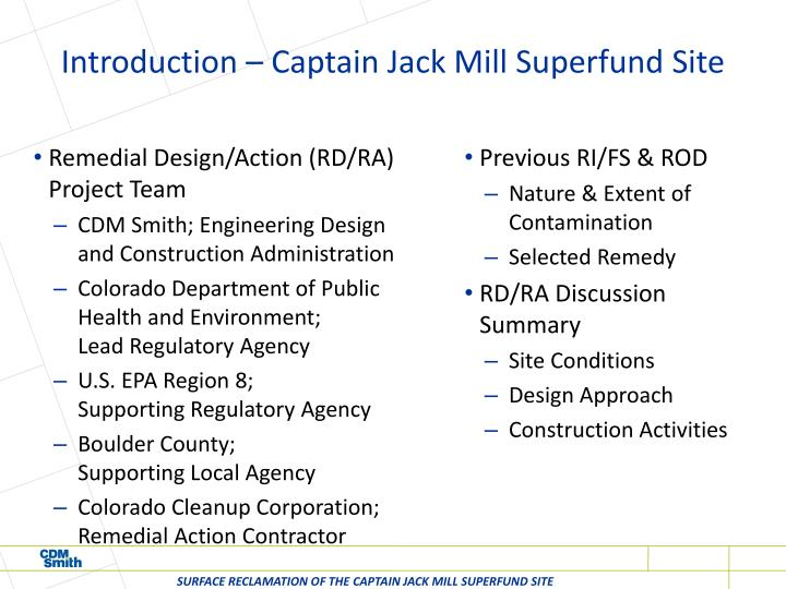 Introduction – Captain Jack Mill Superfund Site