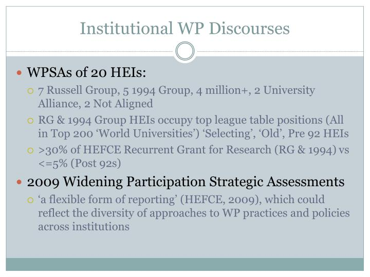 Institutional WP Discourses