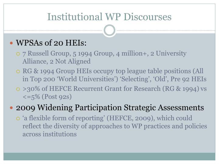 Institutional WP Discourses