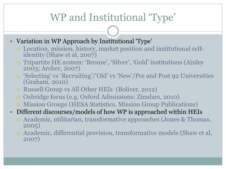 WP and Institutional 'Type'