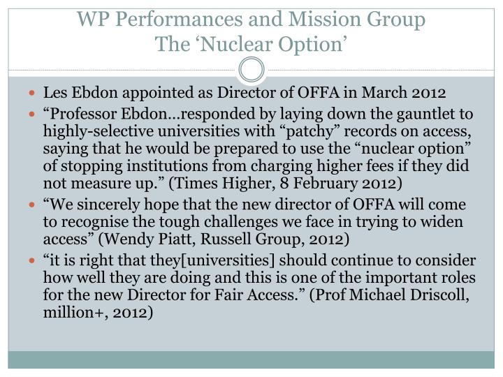 WP Performances and Mission Group