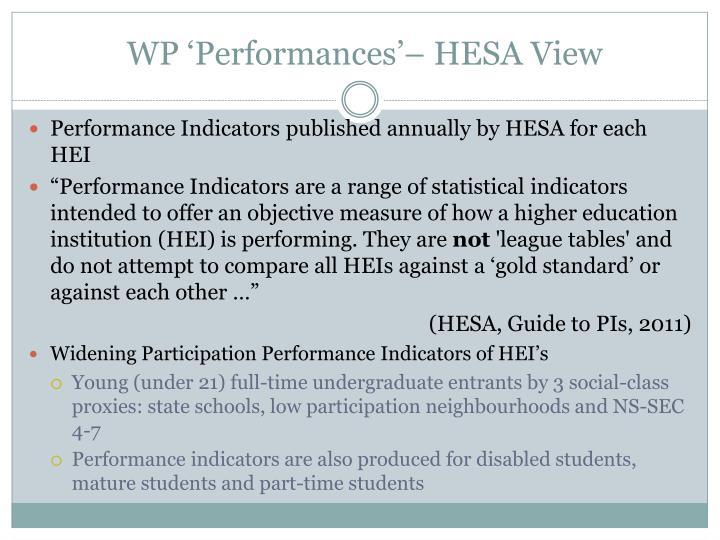 WP 'Performances'– HESA View