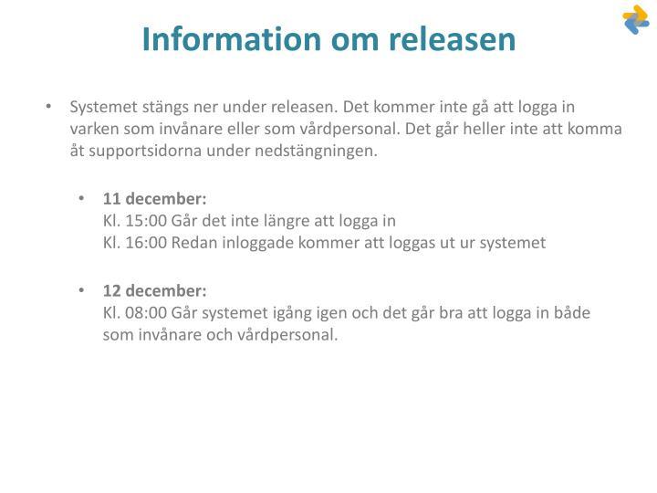 Information om releasen