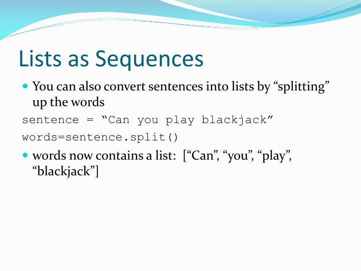 Lists as Sequences