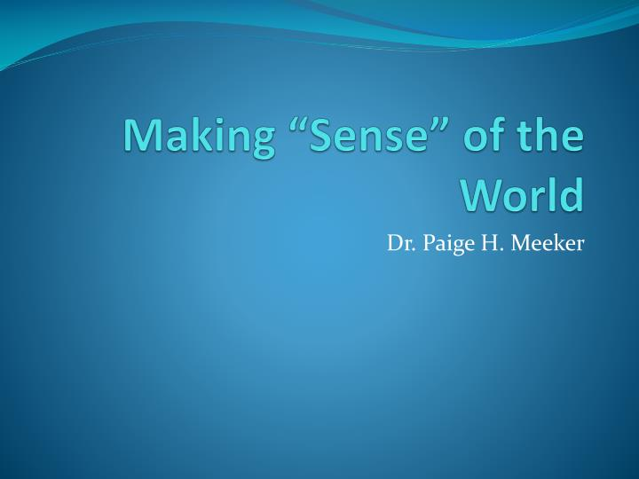 Making sense of the world