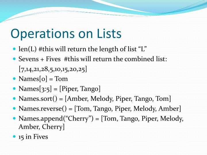 Operations on Lists