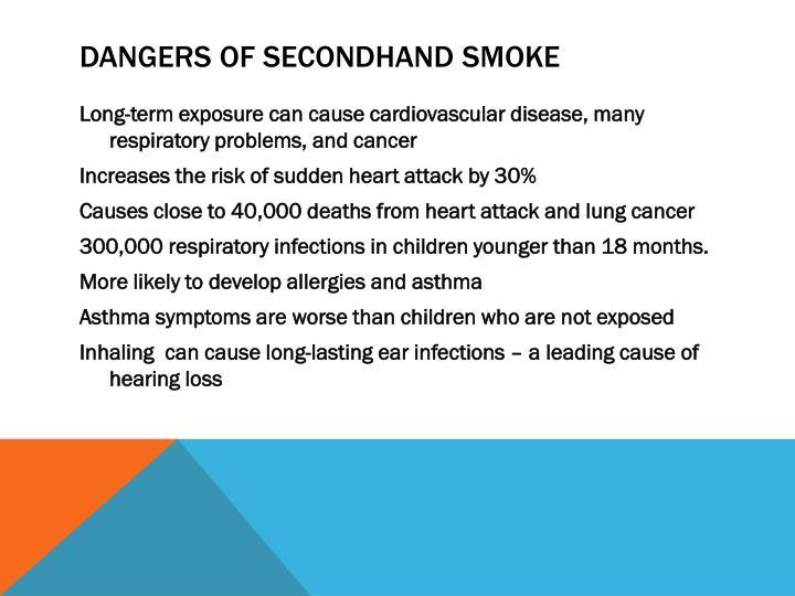 Dangers of secondhand smoke