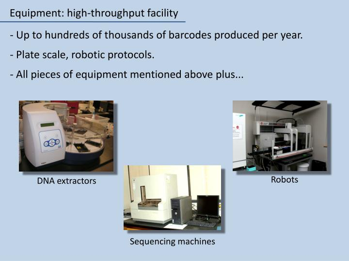 Equipment: high-throughput facility