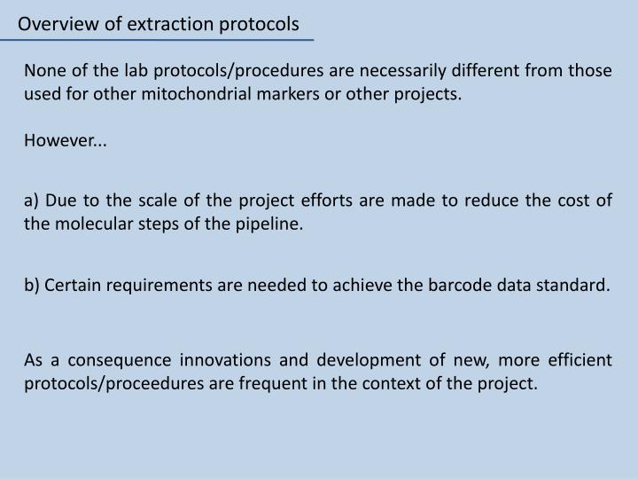 Overview of extraction protocols
