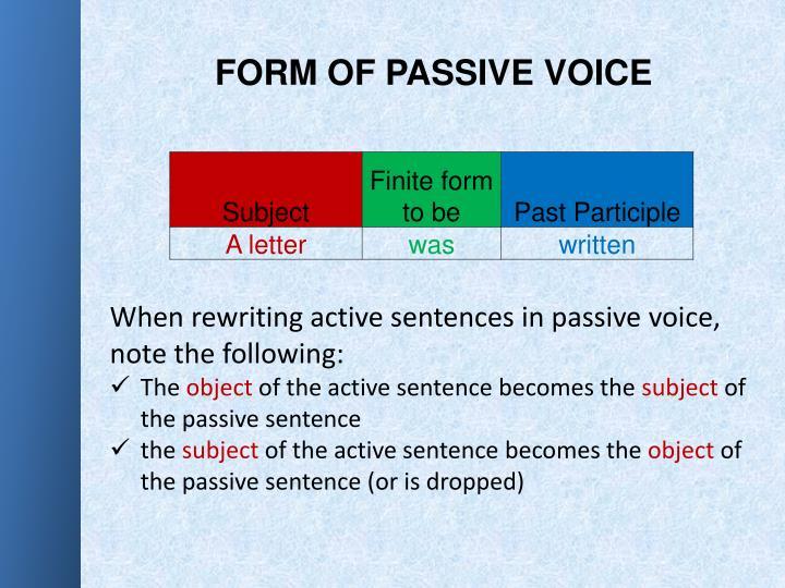 FORM OF PASSIVE VOICE