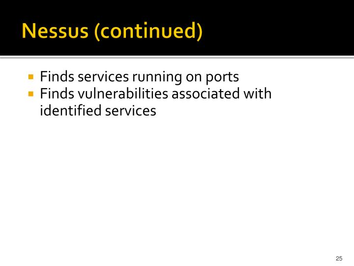 Nessus (continued)