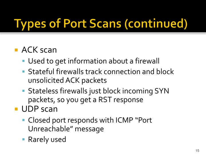 Types of Port Scans (continued)